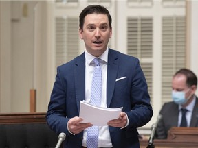 Justice Minister Simon Jolin-Barrette, the minister responsible for language, presents Bill 96, which includes modifications to the Charter of the French Language, Thursday, May 13, 2021 at the legislature in Quebec City.
