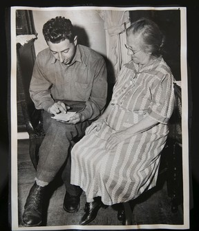 """""""There were things I should've remembered but I didn't want to remember,"""" says Allan Nadler, seen here in a family photo taken with his mother on VE Day. """"With my mother, I could've told her things, but I wanted to forget. To forget, you don't talk about it."""" Photo courtesy of the Nadler family."""