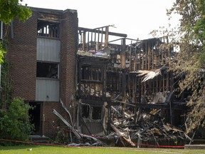 An overnight fire caused extensive damage to an apartment building in Dollard-des-Ormeaux on Sunday June 6, 2021.