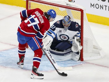 Josh Anderson was all alone in front of Winnipeg Jets' Connor Hellebuyck but shot the puck wide of the net during second period in Montreal Monday, June 7, 2021.