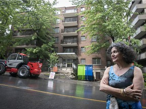 Norma Ishayek in seen in front of the building at 3477 Drummond St. in Montreal on Monday, June 21, 2021.