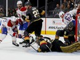 Marc-André Fleury of the Vegas Golden Knights makes the save against Brendan Gallagher #11 of the Montreal Canadiens during the first period in Game One of the Stanley Cup semifinals at T-Mobile Arena on June 14, 2021 in Las Vegas, Nevada.