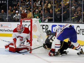Carey Price of the Montreal Canadiens makes the save against Reilly Smith of the Vegas Golden Knights during the second period in Game 1 of the Stanley Cup semifinals at T-Mobile Arena on June 14, 2021, in Las Vegas.
