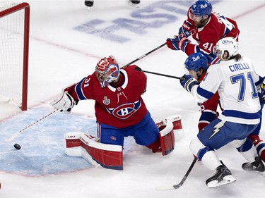 Canadiens goaltender Carey Price makes a save during Game 3 of the Stanley Cup Final against the Tampa Bay Lightning in Montreal on Friday, July 2, 2021.
