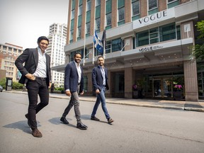 Gaurav Gupta, centre, is president of SageBlan Investments. His partners are Bleda and Anil Basegmez (right).