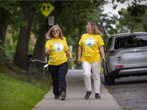 Emilia Fernandes, left, and Judy Suissa started walking together every day when the pandemic began. The close friends, who work for the CIUSSS du Centre-Ouest-de-l'Île-de-Montréal and are based at the Jewish General Hospital, are participating in a fundraiser for the hospital's Segal Cancer Centre. It's one of Montreal's first major in-person fundraising events since March 2020.