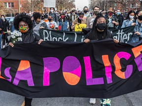 About 500 people took to the streets of Montreal on Saturday Nov. 7, 2020 in support of Black Lives Matter.