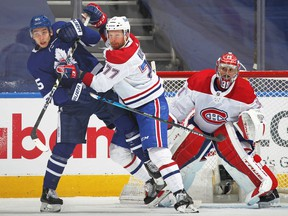 Canadiens defenceman Brett Kulak battles with the Maple Leafs' Ilya Mikheyev in Game 2 of first-round playoff series at Scotiabank Arena in Toronto on May 22.