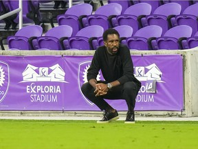 CF Montréal head coach Wilfried Nancy looks on during the first half against New York City FC at Exploria Stadium.