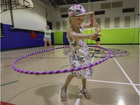 Amelia Desjardins takes part in a Learn to Hula Hoop class as part of Beaconsfield Moves On Thursdays summer activities program, held recently at the Beaconsfield Recreation Centre.