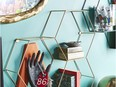 Wall-mounted hanging hooks and shelves keep tabletops, desks and the floor free of clutter. Geometric Hanging Storage Shelf, $35, Marshalls