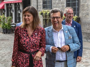 Mayoral candidate Denis Coderre with Nadine Gelly, his pick to head the executive committee if he is elected.