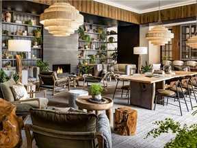 Flora, the lounge at the new 1 Hotel Toronto, embodies the striking back-to-nature design with living foliage and natural wood.