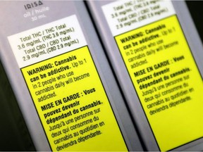 FILE: Warning labels on cannabis products sold at the Société québécoise du cannabis outlet on St-Hubert St. in Montreal. /
