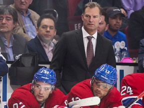 Former Canadiens assistant coach Kirk Muller behind the bench during a game against the Arizona Coyotes in Montreal on Feb. 10, 2020.