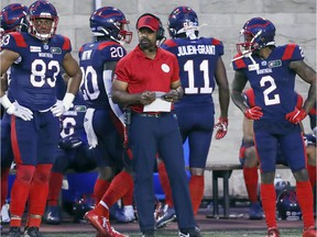 Montreal Alouettes head coach Khari Jones on the sideline during game against the Hamilton Tiger-Cats game in Montreal on Aug. 27, 2021.