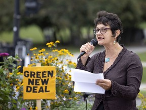 """""""Half a million people took to the streets of Montreal to denounce climate warming and the inaction of politicians"""" two years ago, said Nimâ Machouf at a much smaller climate rally in Montreal on Tuesday, Sept. 14, 2021. The NDP candidate is running against Liberal incumbent Steven Guilbeault in the riding of Laurier—Sainte-Marie."""