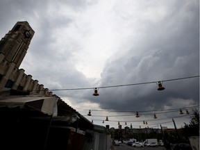 Storm clouds brew over the Atwater Market in Montreal in 2019.