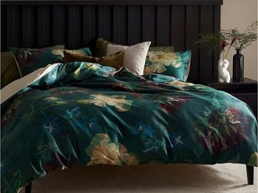 Big prints and dark colours add instant drama to the bedroom. Beddinghousee, Van Gogh Museum Peonies and Blue Delphiniums Duvet Set, $250, Simons