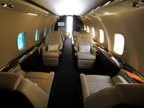 The inside of a fuselage of a Bombardier 350 Challenger jet is seen on display for attendees to view at the Milken Institute Global Conference in Beverly Hills, Calif., May 2, 2017.
