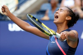 Canadian Leylah Fernandez reacts during her quarter-final win over Elina Svitolina at the U.S. Open on Tuesday, Sept. 7, 2021.