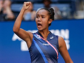 Laval's Leylah Fernandez celebrates a point against Ukraine's Elina Svitolina during their 2021 U.S. Open Tennis tournament women's quarter-finals match at the USTA Billie Jean King National Tennis Center in New York on Tuesday, Sept. 7, 2021.