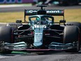 Aston Martin's driver Lance Stroll  of Montreal drives during the second practice session at the Autodromo Nazionale circuit in Monza on Saturday, Sept. 11, 2021, ahead of the Italian Formula One Grand Prix.