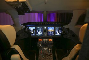 A view of the cockpit inside the new Challenger 3500 business jet ahead of a virtual event in Montreal on September 14, 2021.
