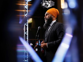 New Democratic Party (NDP) leader Jagmeet Singh speaks during a news conference after the last of three two-hour debates ahead of the September 20 election, at the Canadian Museum of History in Gatineau, Quebec, Canada September 9, 2021. REUTERS/Blair Gable