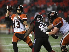 BC Lions quarterback Mike Reilly throws the ball against the Ottawa Redblacks during second half in Ottawa on Aug. 28, 2021.