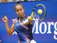 Laval's Leylah Fernandez hits a forehand against Emma Raducanu of Great Britain in the women's singles final of the 2021 U.S. Open tennis tournament at USTA Billie Jean King National Tennis Center on Saturday, Sept. 11, 2021, in Flushing, N.Y.
