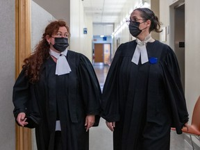 Defence lawyers Mylène Lareau, left, and Nellie Benoît at the Gouin courthouse in Montreal on Thursday May 27, 2021. The lawyers are arguing the case of Marie-Josée Viau and Guy Dion, who are charged in the 2016 deaths of Vincenzo and Giuseppe Falduto.