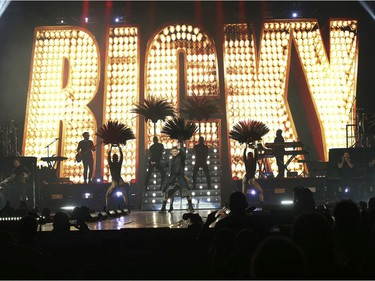 Ricky Martin performs at the Bell Centre in Montreal on Saturday, Oct. 9, 2021.