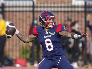 Montreal Alouettes quarterback Vernon Adams Jr. throws a pass during second half of Canadian Football League game against the Ottawa Redblacks in Montreal Monday October 11, 2021.