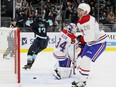 Brandon Tanev of the Seattle Kraken scores on Canadiens' Jake Allen during second period on Oct. 26, 2021, at Climate Pledge Arena in Seattle.