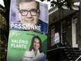 Election signs for Denis Coderre and Valérie Plante.