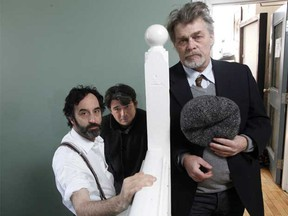 Does it look like they're joking? From left: Don McKellar, director Andrew Burashko and Nicholas Campbell restage Orson Welles' 1938 aliens attack radio drama/elaborate hoax, War of the Worlds.
