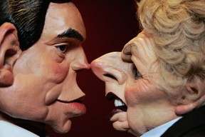LONDON - JUNE 15:  Puppet figures of the Chancellor of the Exchequor, Gordon Brown and former Conservative Prime Minister, Margaret Thatcher for the satirical Television show Spitting Image are displayed at Bonhams auctioneers on June 15, 2007 in London, England.  The puppets are expected to fetch between GBP3-4,000 at auction on 20 June. (Photo by Bruno Vincent/Getty Images)