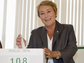 Ms. 34%: Parti Quebecois Leader Pauline Marois casts her ballot in Beaupre, Que., on Tuesday, September 4, 2012.