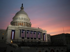 WASHINGTON, DC - JANUARY 21:  The sun rises before the presidential inauguration on the West Front of the U.S. Capitol January 21, 2013 in Washington, DC.  Barack Obama was re-elected for a second term as President of the United States.  (Photo by John Moore/Getty Images)