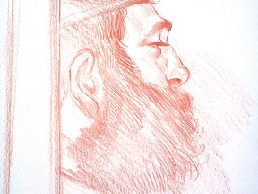Raed Jaser at a bail hearing Toronto April 23, 2013. Illustration by Mike Faille/National Post.