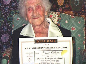 The oldest recorded living woman, French Jeanne Calment, poses in this 18 October, 2005 file photo.