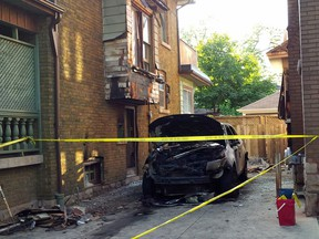 Hamilton police are investigating an apparent arson attack outside the home of Mafia figure Pat Musitano that set an SUV and two neighbouring house ablaze Monday night, Sept. 21, 2015.