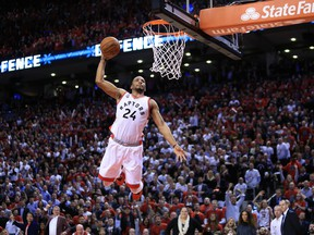 Raptors guard Norman Powell rises for a dunk against the Indiana Pacers in Game 5 of their first-round Eastern Conference playoff series.