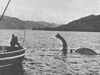 This photo shows the movie prop of Nessie before it sank to the bottom of Loch Ness.