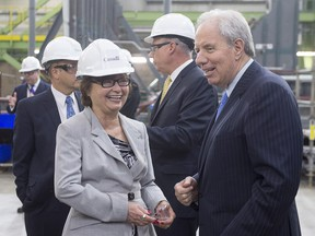 Public Services Minister Judy Foote with Jim Irving, CEO of Irving Shipbuilding, at the Irving Shipbuilding facility in Halifax on Monday, June 13, 2016.