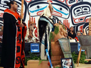 Darin Swanson, head chief of the Yahgulaanaas/Janaas clan at the ceremony where two hereditary chiefs were stripped of their titles. Ernest Swanson, his nephew is to the left holding a staff.