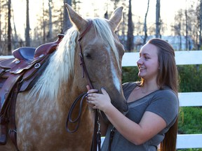 Jada Polem became an Internet sensation when photos of her riding Mya out of fire ravaged Fort McMurray, were posted online.