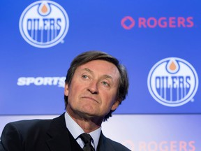 Wayne Gretzky attends a press conference announcing his return to the Edmonton Oilers on Oct. 12.