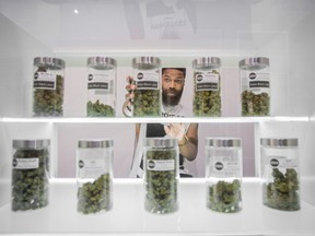 TORONTO, ONTARIO : October 4, 2016 - An employee replaces a large jar of marijuana on a shelf  Eden Medicinal Society, a cannabis retailer, in Toronto, Ontario, Tuesday, October 4, 2016.   (Tyler Anderson / National Post)  (For National) //NATIONAL POST STAFF PHOTO